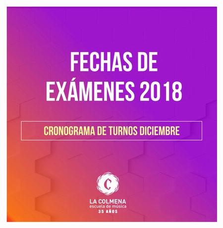 Cronograma Fechas de Exámenes 2018